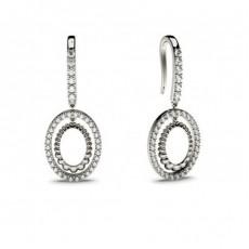 Boucles d'oreilles délicates diamant rond serti pavé et griffes 0.35ct