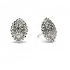 Boucles d'oreilles illusion diamant rond serti pavé 0.65ct
