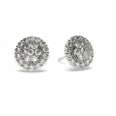 Boucles d'oreilles illusion diamant rond serti pavé 0.85ct