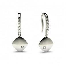Boucles d'oreilles délicates diamant rond serti invisible et pavé 0.15ct