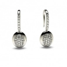 Boucles d'oreilles délicates diamant rond serti pavé 0.45ct