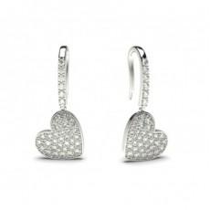 Boucles d'oreilles délicates diamant rond serti pavé 0.60ct