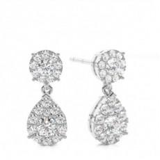 Boucles d'oreilles illusion diamant rond serti griffes 0.45ct