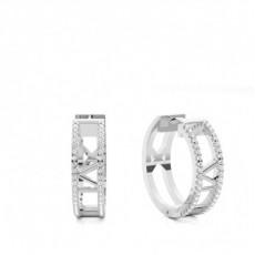 Boucles d'oreilles tendance diamant rond serti 4 griffes 0.35ct