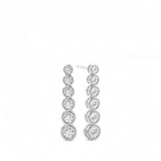 Boucles d'oreilles créoles diamant rond serti 4 griffes 4.59ct