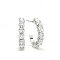 Boucles d'oreilles tendance diamant rond serti pavé 0.55ct
