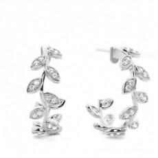 Boucles d'oreilles tendance diamant rond serti pavé 0.80ct