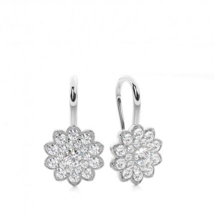Boucles d'oreilles chute de diamants rond serti pavé 0.70ct