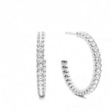 Boucles d'oreilles créoles diamant rond et baguette serti illusion 4.08ct