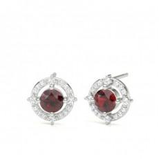 Clous d'oreilles designer rubis 4 griffes