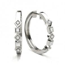 Creoles diamant rond serti griffes