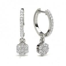Boucles d'oreilles creoles diamant rond serti pave