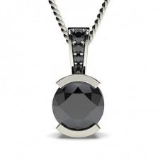 Pendentif solitaire diamant noir rond serti demi-clos