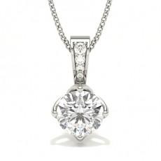 Pendentif solitaire diamant rond serti 4 griffes et pavé
