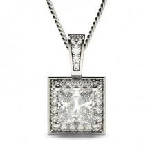 Pendentif halo diamant princesse/rond serti 4 griffes et pavé