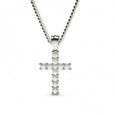 Pendentif croix diamant rond serti 2 griffes 0.20ct