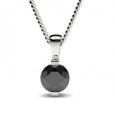 Pendentif solitaire diamant noir rond serti barette