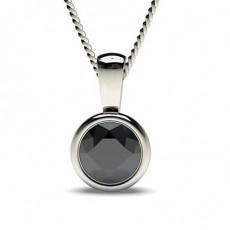 Pendentif solitaire diamant noir rond serti clos