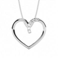 Pendentif cœur diamant rond serti griffes 0.11ct