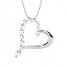 Pendentif cœur diamant rond serti 2 griffes 0.62ct