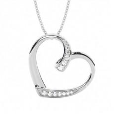 Pendentif cœur diamant rond serti pavé 0.12ct