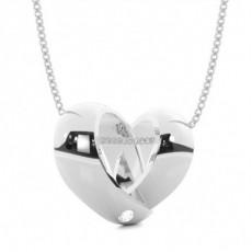 Pendentif cœur diamant rond serti invisible 0.035ct
