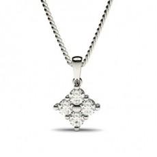 Pendentif illusion diamant rond serti griffes 0.20ct