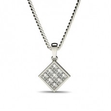 Pendentif illusion diamant princesse serti invisible 0.20ct