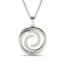 Pendentif cercle diamant rond serti 4 griffes 0.54ct