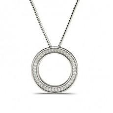 Pendentif cercle diamant baguette serti rail 0.82ct