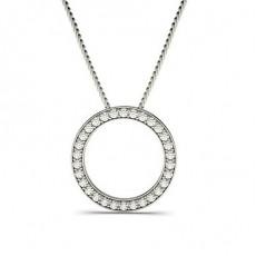 Pendentif cercle diamant rond serti pavé 0.50ct