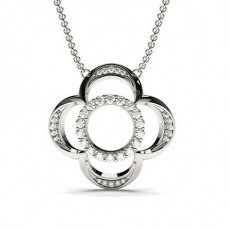 Pendentif tendance diamant rond serti pavé 0.42ct