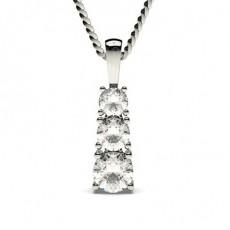 Pendentif cascade diamant rond serti 4 griffes