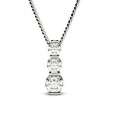 Pendentif cascade diamant rond serti barette