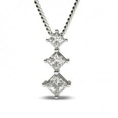 Pendentif cascade diamant princesse serti 4 griffes
