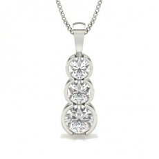 Pendentif cascade diamant rond serti demi-clos