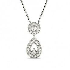 Pendentif chute de diamants ronds serti 4 griffes et pavé 0.40ct