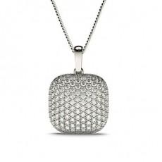 Pendentif tendance diamant rond serti pavé 1.53ct