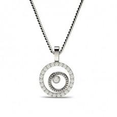 Pendentif délicat diamant rond serti clos et griffes 0.20ct