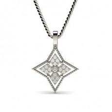 Pendentif délicat diamant rond serti pavé et griffes 0.15ct
