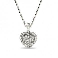 Pendentif illusion diamant rond serti 4 griffes et pavé 0.30ct