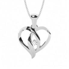 Pendentif cœur diamant rond serti clos 0.10ct