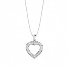 Pendentif cœur diamant rond serti pavé 0.31ct
