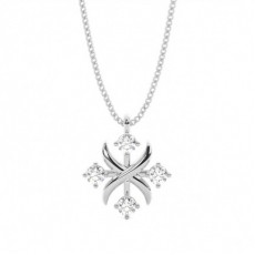 Pendentif tendance diamant rond serti pavé 0.10ct