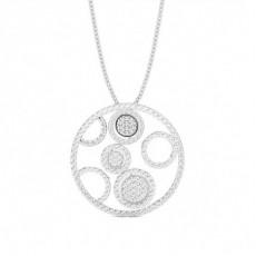 Pendentif tendance diamant rond serti pavé 0.45ct