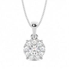 Pendentif tendance diamant rond serti pavé 0.21ct