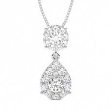Pendentif illusion diamant rond serti 4 griffes 0.35ct