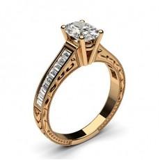 Bague de fiançailles vintage large épaulée diamant serti 4 griffes rondes et rail