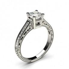 Bague de fiançailles vintage standard épaulée diamant serti 4 griffes profil d et rail