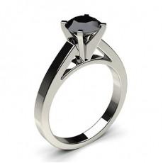 Bague solitaire fine diamant noir serti 6 griffes